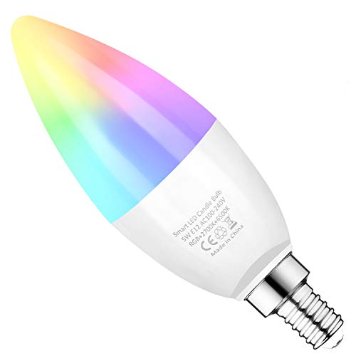 E12 Smart Bulbs,Candelabra Base WiFi Smart Light Bulbs RGB+ Warm+ Daylight White Dimmable 40W Equivalent APP Remote Control Compatible with Alexa Google Assistant IFTTT (3 Pack)