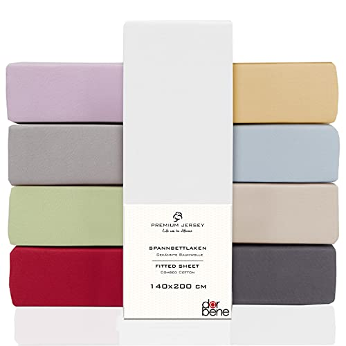 DarBene Spannbettlaken 140x200 Premium , Jersey 100% gekämmte Premium Baumwolle, Blickdicht, superweiches Bettlaken bis 25 cm Matratzenhöhe, Oeko-TEX, Weiß