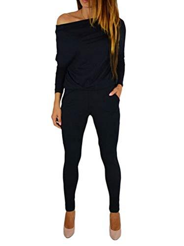 Minetom Jumpsuit Damen Elegant Langarmshirt Overall Off Shoulder Lange Ärmel Elastische Taille Playsuits Strand Romper Einfarbig mit Taschen Schwarz 38