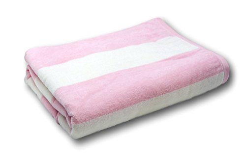 Lara Cabana 100% Turkish Cotton Beach Towel Pool Spa Bath by Corner4Shop (Pink/White Striped)