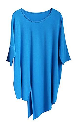 Angcoco Camiseta de Baile Latino con Dobladillo Irregular con Abertura para Mujer, Vestido de Baile de Salsa, Camisa de Baile de salón