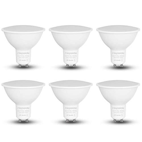 Hepside GU10 LED Warmweiss (3000K), 6W (Äquivalente Glühlampe 40W) 550 Lumen LED Lampe Ersatz für 40W Halogenlampen 120° Abstrahlwinkel LED Leuchtmittel GU10 AC 220-240V, CRI80 LED Glühbirne 6er Pack