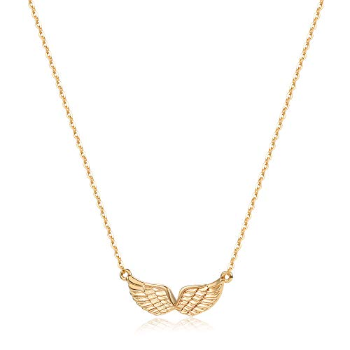 MEVECCO Gold Angel Wings Pendant Necklace,18K Gold Filled Cute Tiny Guardian Angel Charm Necklace,Dainty Simple Minimalist Necklace for Women