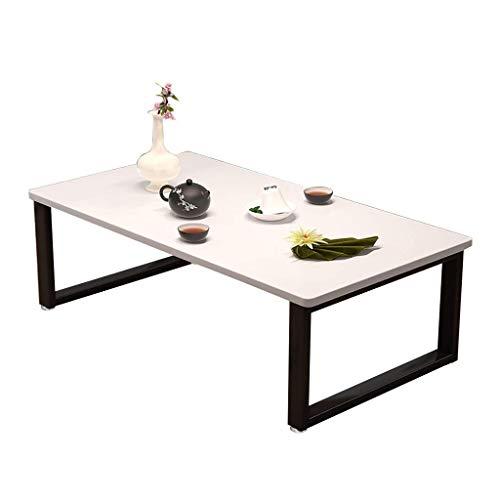 Stolik kawowy, niski stół z litego drewna/stół Kang, stalowa rama + blat z litego drewna Stolik do herbaty w stylu japońskim (rozmiar: 60X50X40CM)