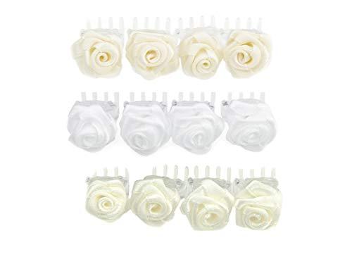 OiA 12 Stück Haarspangen mit Rosen | Haarschmuck für Frauen, Kinder, Haarnadeln, Blumen für Frisuren | Farbe: Weiß und Elfenbein