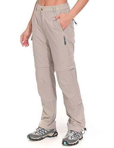 Little Donkey Andy Pantalones elásticos convertibles para mujer, con cremallera, de secado rápido, color caqui, talla M