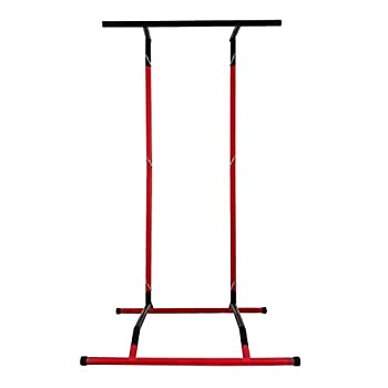 Happybuy 330LBS Pull Up Bar Free Standing Dip Station Portable Power Tower Multi-Station for Home Gym Fitness Equipment with Storage Bag,Red&Black