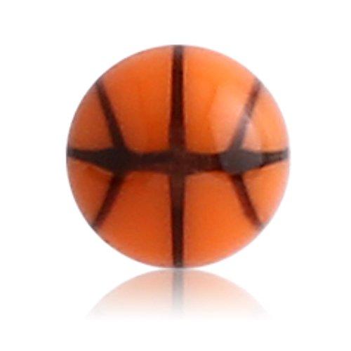 1,2 mm - 3 mm - BN - Bruin/Bruin - Acryl - Schroef bal - Basketball Design - 10-pack (piercing schroef bolopzet voor staven, Labrets etc.)