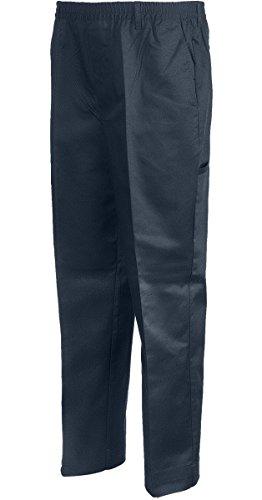 Benefit Wear Mens Full Elastic Waist 5-Pocket Pants with Mock Fly (S, Navy)