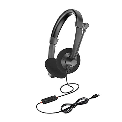 Auriculares USB, con micrófono giratorio, cable con enchufe USB, control de volumen, centro de llamadas manos libres con cable con cancelación de ruido