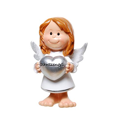 Deko Figur Schutzengel mit Herz 10,5 cm groß Engel als Glücksbringer