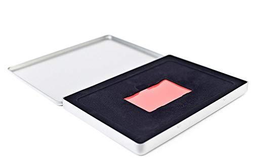 Waardebon - metalen doos - rechthoekige blikken doos met deksel, metalen doos 21,5 x 15,5 x 1,3 cm groot, hoekig, leeg, zilver mat met schuimvulling voor een voucher