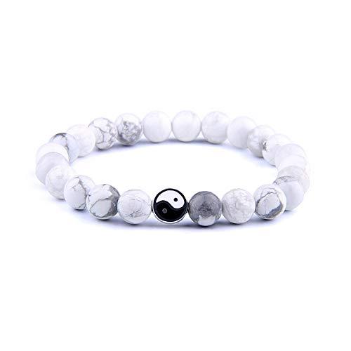 yin yang bracelets Tattooshe Handmade Bracelet Classic Natural Stone White and Black Yin Yang Taichi Taiji Bagua Beaded Bracelets for Men Women Jewelry Gift