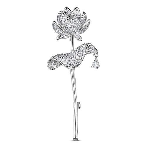 ブローチ SHEGRACE AAAジルコン プラチナ 蓮 ブローチ 蓮の花 レディース メンズ ブローチ 65×25mm