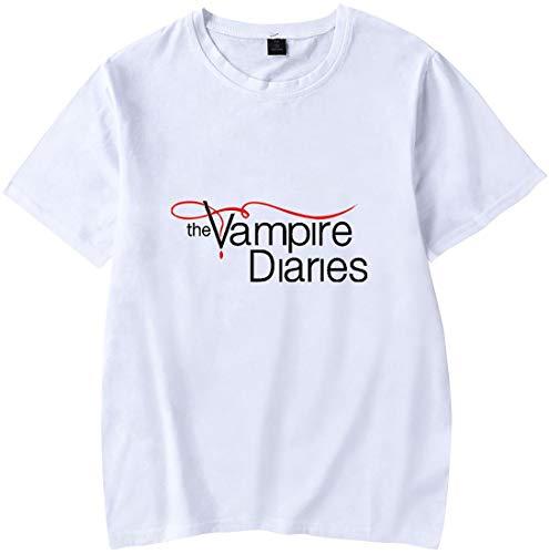 MINIDORA Donna T-Shirt The Vampire Diaries Maglietta Maniche Corte Unisex Casual T-Shirt S,Bianco Logo