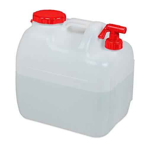 Relaxdays Wasserkanister mit Hahn, Schraubdeckel, Trinkwasserkanister Camping, 23 l, BPA-frei, Kunststoff, weiß-rot
