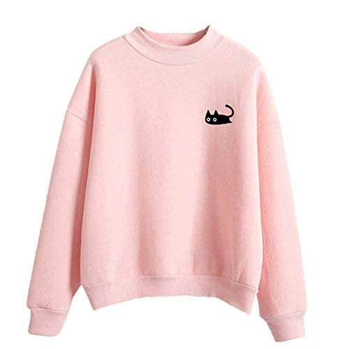 FimKaul Women Graphic Cute Cat Sweaters Funny Solid Color Pullover Tops Teen Girls Sweatshirts(Pink,L)