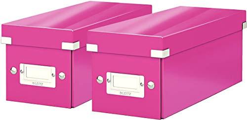 Leitz CD Aufbewahrungsbox, Pink, Mit Deckel, Click & Store, 60410023 (Pink 2er Pack)