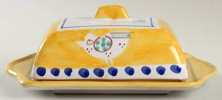 Vietri Campagna Chicken 1/4 lb Butter Dish and Lid (Yellow Border,Blue Dots) (0.25 Lb Butter Dish)
