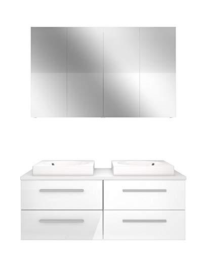 Badmöbel Set City 201 V1 Hochglanz weiß, Badezimmermöbel, Waschtisch 120cm JA mit 2x 5W LED / 1x Energiebox