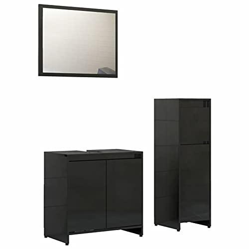 Gawany Conjunto de Muebles de Baño 3 Piezas Juego de Muebles de Baño con 1 Armario Mediano,1 Lavabo y 1 Espejo Aglomerado Negro Brillante