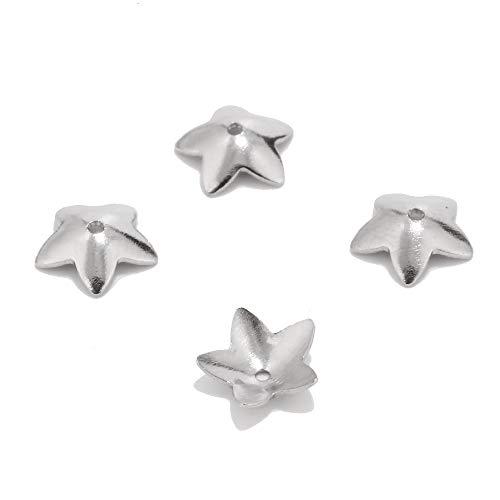 SS01 100 tapas de acero inoxidable de 6 mm/7,5 mm para cuentas de flores, accesorios para manualidades de joyería, suministros para hacer suministros YC0407 (color: 7,5 mm)