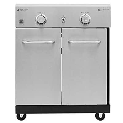 Kenmore PG-OK005-AM Cooking Station with Right Sear Left Side Griddle Burner, Black and Stainless Steel