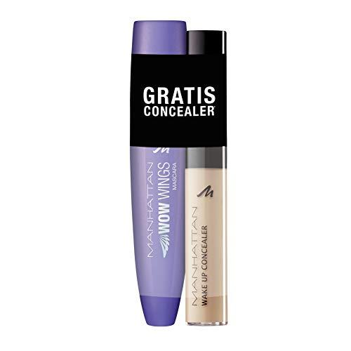 Manhattan WOW Wings Mascara 1010N Black + Wake Up Concealer 03 True Ivory, 19 ml