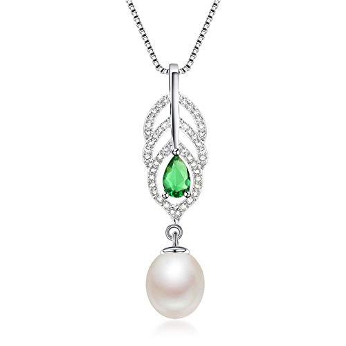 LFNSTXT Collar De Perlas De Agua Dulce Natural 925 Plata Colgante De Cristal Verde 45Cm-White_8-9Mm