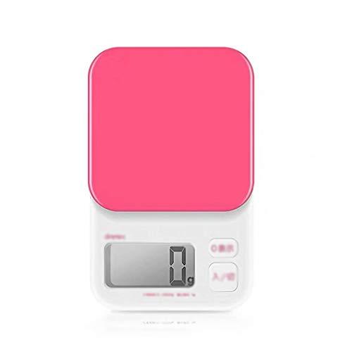 YLJJ Balanza electrónica, balanza de joyería, báscula de cocina, escala científica, báscula de laboratorio (2000gx1g), rosa, 11 x 17,6 x 2,5 cm