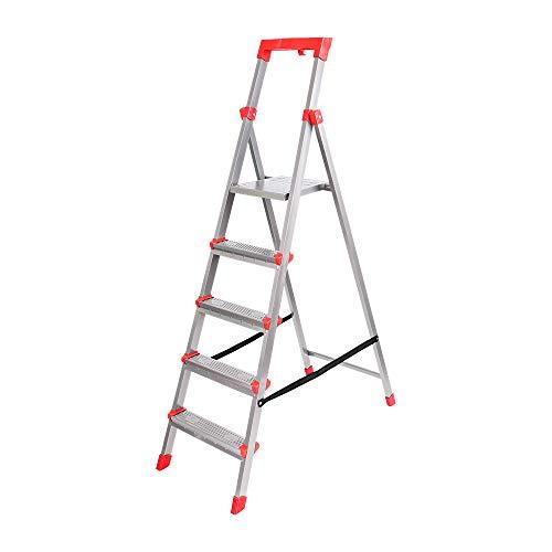 Klapptritt Stehleiter, Aluminium, belastbar 150kg, METALLBASIS (5 Stufen)
