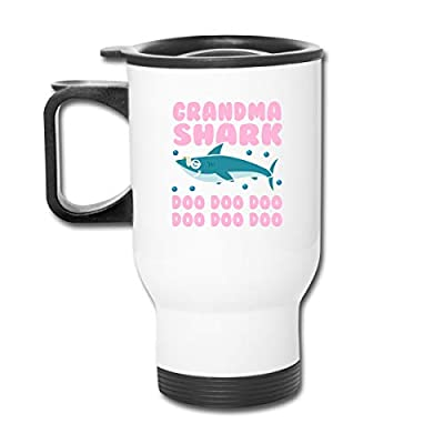 Alepoll Grandma Shark Do Do Do 13.5oz Stainless Steel Car Cup Insulated Vacuum Tumbler Coffee Mug Gift