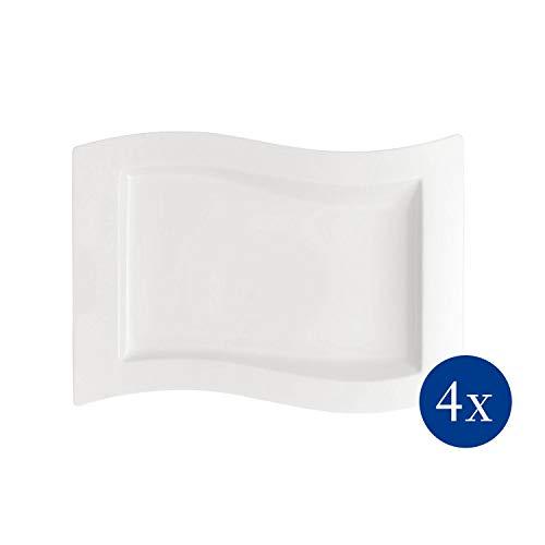 Villeroy & Boch NewWave Gourmet-Teller 4-teiliges Set, Design-Geschirr aus hochwertigem Premium Porzellan in Weiß, 33 x 24 cm