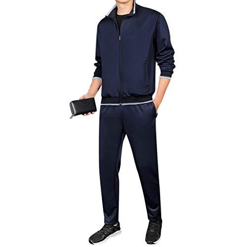 DAY8 Tute Uomo Sportive Invernali Tuta Uomo Sportiva Completa Vestito Uomo Eleganti Sportivi Invernale Oversized Sweatshirt Uomo Streetwear Inverno Taglie Forti Giacca + Pantaloni (Blu, XXXXL)