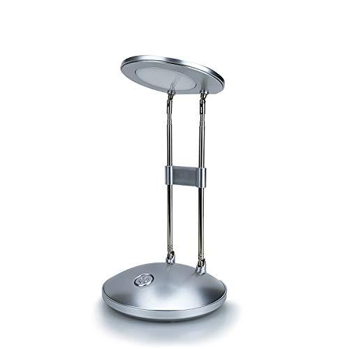 LED Schreibtischlampe, DA LIGHT 3000K Warmweiß LED Tischlampe, 3.6W Nachttisch Leselampe mit Einziehbare Halterungen Silber Tischleuchte Tragbare Bürolampe für Büro, Lesen, Studieren