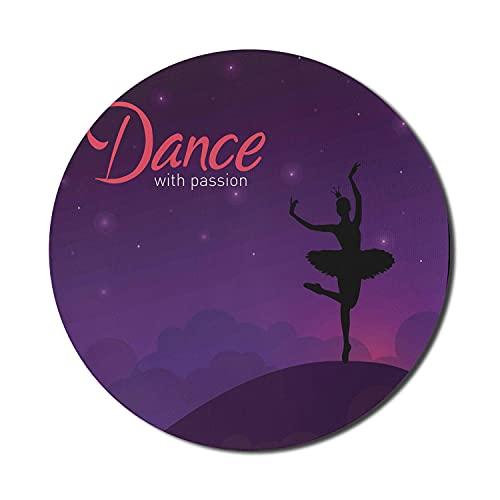 Ballerina-Mauspad für Computer, Tanz mit Passionswörtern mit Tänzerin, rundes, rutschfestes, dickes, modernes Gaming-Mousepad aus Gummi, 8 'runde, dunkelviolette, dunkle Koralle