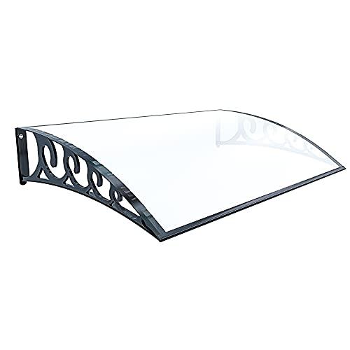 Pensilina Per Copertura In Policarbonato Alveolare Tettoia Modulabile Per Esterno Per Porte Balcone Finestre Elegante E Resistente, Trasparente (60 x 100 Cm)