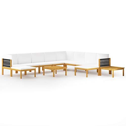 vidaXL Muebles de jardín 12 pzas cojines crema madera maciza acacia
