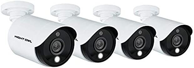 Night Owl Wired 1080p HD Indoor/Outdoor Add-on Cameras with Built-in Motion-Activated Spotlights, 100 ft. of Night Vision, 100° Wide Viewing Angle and L2 Color Boost Technology (4-Pack)