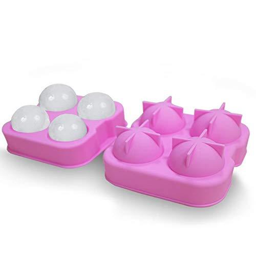 Deng Xuna Eiswürfelform Silikon Form 4-Ball Eiswürfelschale 4.5 cm Eisball Form Silikon 3D Eismaschine Form zum Bartending (Rosa)
