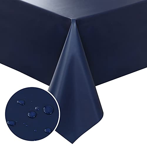 smiry Vinyl Tablecloth, Waterproof PVC Plastic Table Cloth, Oil Proof Spill Proof Wipable Tablecloths for Rectangle Tables 60 x 120, Navy Blue