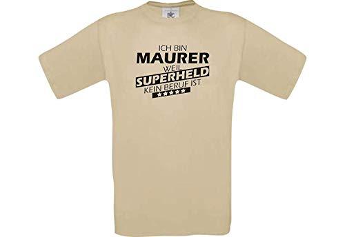 Camiseta de Hombres Ich Bin Albañil, Weil Super Héroe No Oficio ist - Caqui, L