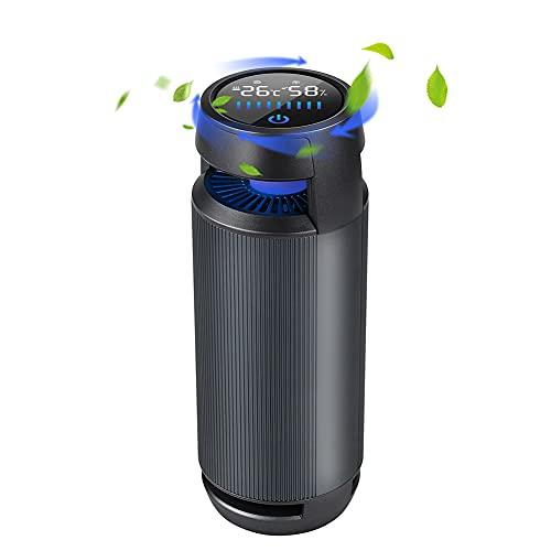 IVEOPPE Purificador de Aire para Automóvil, Mini Purificador de Aire HEPA para Alergias, Caspa de Mascotas, Humo, Polvo y Olores, Purificador de Aire HEPA Verdadero para Automóvil, Dormitorio, Oficina