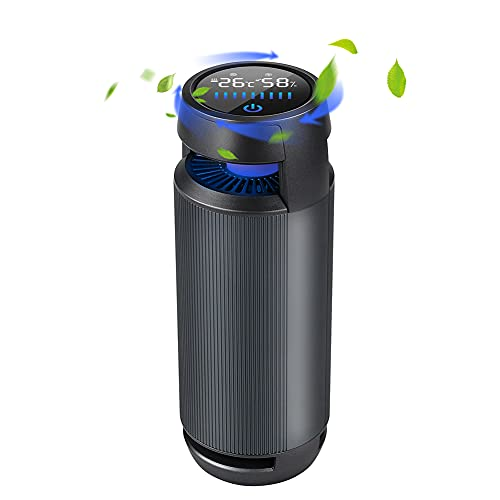 Portable Car Air Purifier, IVEOPPE Mini HEPA Air Purifier with Colorful LED Night Light for Allergies, Dandruff, Smoke, Dust and Odor, Genuine HEPA Air Filter for Car, Bedroom, Office