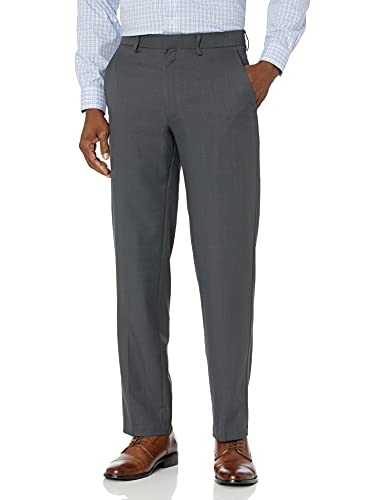 Haggar Men's Travel Performance Stria Tic Tailored Fit Suit Separate Pant, Dark Heather Grey, 36Wx34L