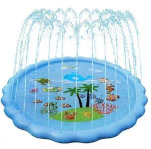 Akoemxeeo Splash Pad, 68 pulgadas de rociador de juegos de animales de mar decoración para niños, relleno de verano piscina juguetes de agua para jardín, playa y juegos al aire libre