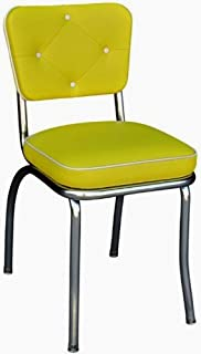 Richardson Seating 4240YEL Chrome Diner Chair with Button...