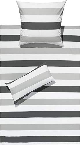 REDBEST Bettwäsche Renforcé grau-Silber-weiß Größe 135x200 cm (40x80 cm)