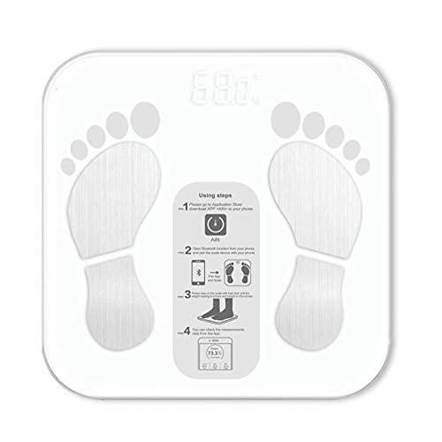 Escala de pesaje Aplicación Bluetooth Aplicación Escala de peso Peso del piso Escala de baño Smart Backlight Pantalla Escala de peso para el cuarto de baño Dormitorio Escala electrónica WDH666