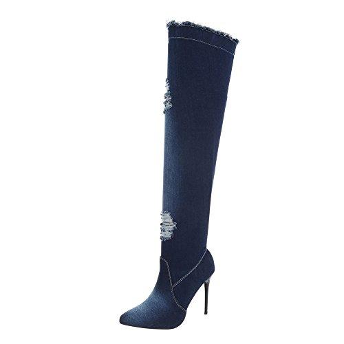 Ital-Design Overknees Damen-Schuhe Overknees Pfennig-/Stilettoabsatz High Heels Reißverschluss Stiefel Dunkelblau, Gr 37, Od-218-